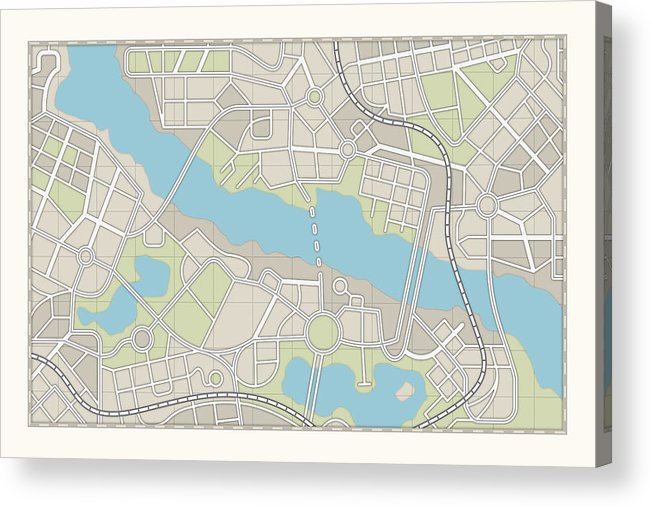 Plan Acrylic Print featuring the photograph City Map by Pagadesign