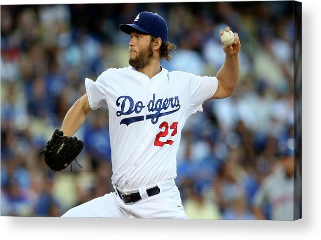 People Acrylic Print featuring the photograph Clayton Kershaw by Stephen Dunn