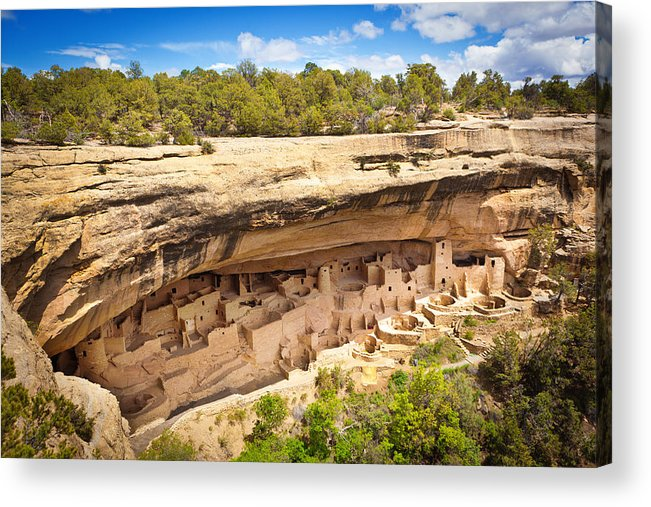 Scenics Acrylic Print featuring the photograph Cliff Palace in Mesa Verde, Ancient Pueblo Cliff Dwelling, Colorado by YinYang
