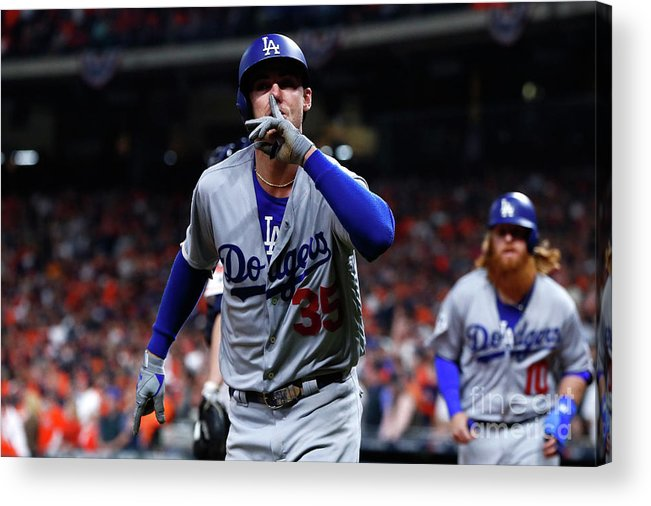Three Quarter Length Acrylic Print featuring the photograph Cody Bellinger by Jamie Squire