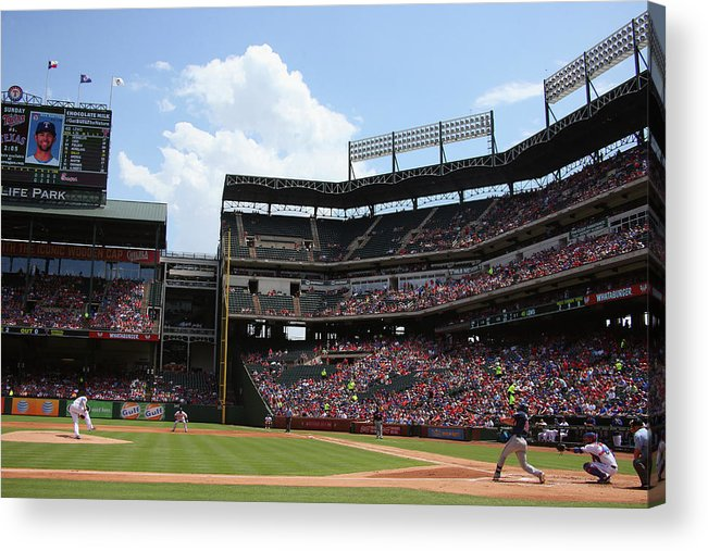 Second Inning Acrylic Print featuring the photograph Colby Lewis and Trevor Plouffe by Ronald Martinez