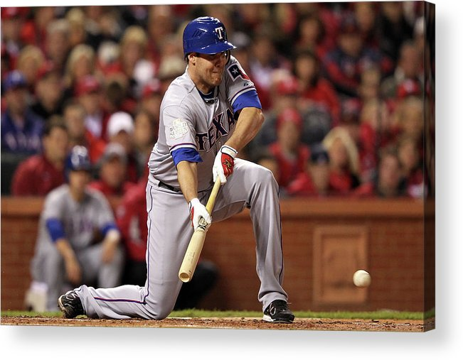 St. Louis Cardinals Acrylic Print featuring the photograph Colby Lewis by Jamie Squire