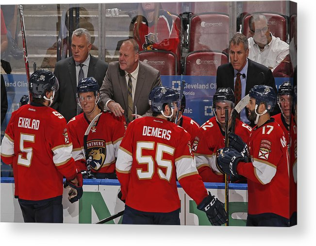 National Hockey League Acrylic Print featuring the photograph Columbus Blue Jackets v Florida Panthers by Joel Auerbach