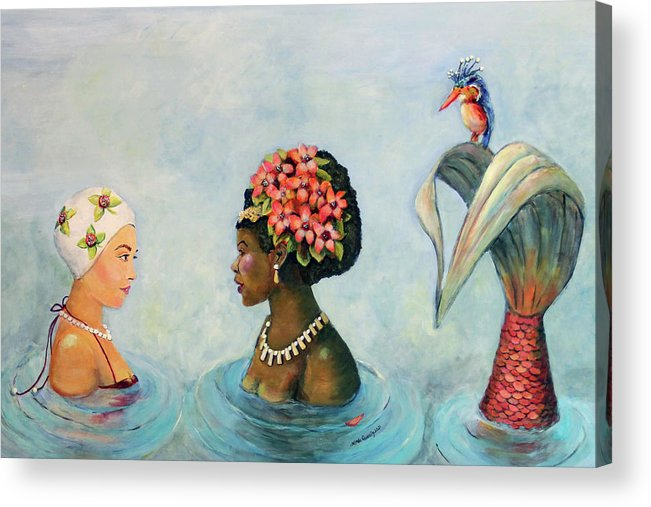 Mermaid Acrylic Print featuring the painting Conversation With a Mermaid by Linda Queally