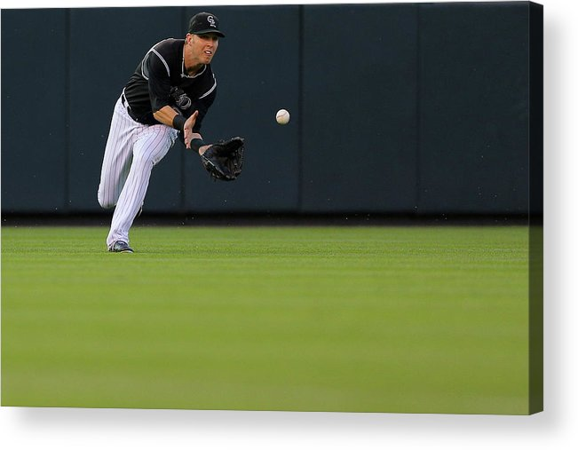 Catching Acrylic Print featuring the photograph Corey Dickerson by Justin Edmonds