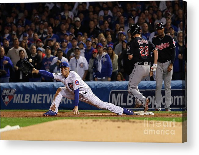 Second Inning Acrylic Print featuring the photograph Corey Kluber, Anthony Rizzo, and Kris Bryant by Jamie Squire