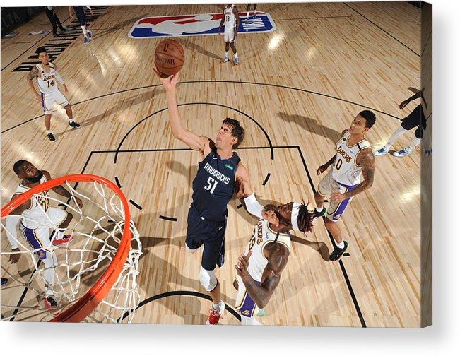 Nba Pro Basketball Acrylic Print featuring the photograph Dallas Mavericks v Los Angeles Lakers by Jesse D. Garrabrant