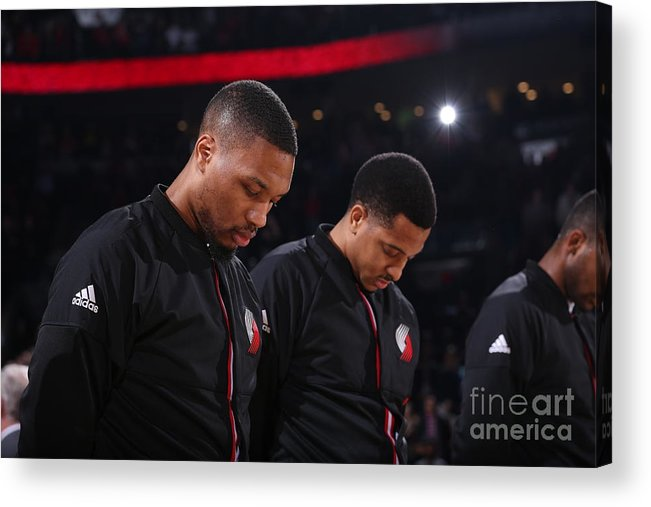 Nba Pro Basketball Acrylic Print featuring the photograph Damian Lillard and C.j. Mccollum by Sam Forencich