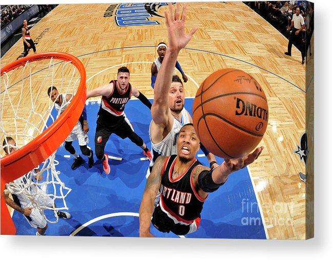Nba Pro Basketball Acrylic Print featuring the photograph Damian Lillard by Fernando Medina