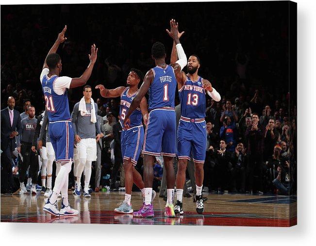 Nba Pro Basketball Acrylic Print featuring the photograph Damyean Dotson and Bobby Portis by Nathaniel S. Butler