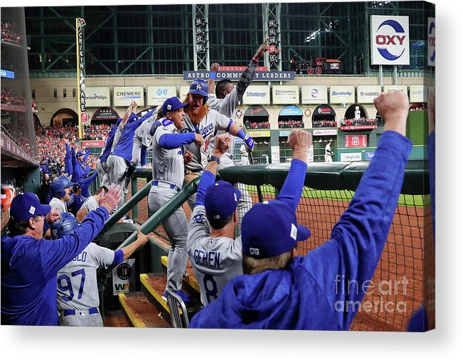 Ninth Inning Acrylic Print featuring the photograph Dave Roberts and Justin Turner by Jamie Squire