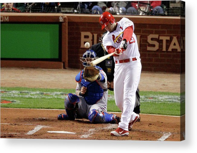 St. Louis Cardinals Acrylic Print featuring the photograph David Freese by Rob Carr