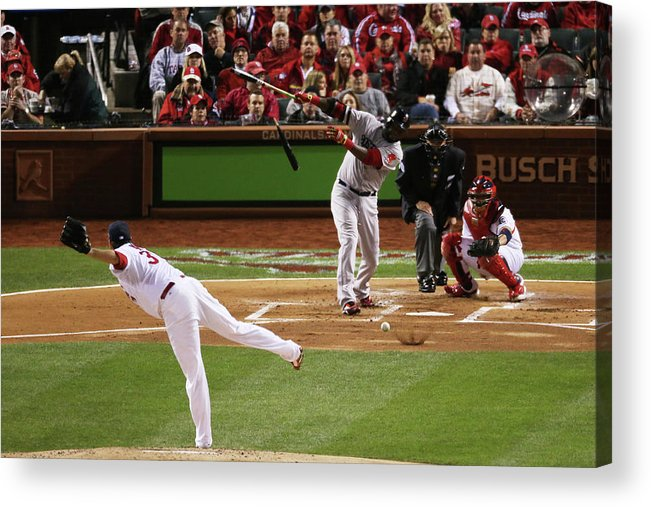 Second Inning Acrylic Print featuring the photograph David Ortiz and Lance Lynn by Rob Carr