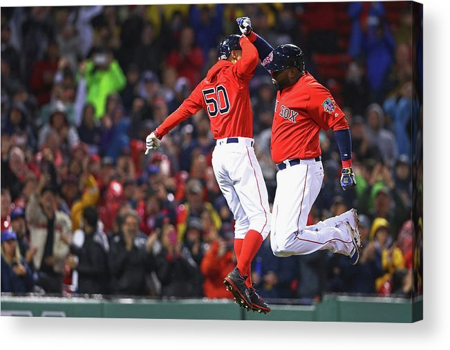 American League Baseball Acrylic Print featuring the photograph David Ortiz and Mookie Betts by Maddie Meyer