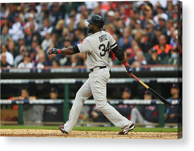American League Baseball Acrylic Print featuring the photograph David Ortiz by Mike Ehrmann