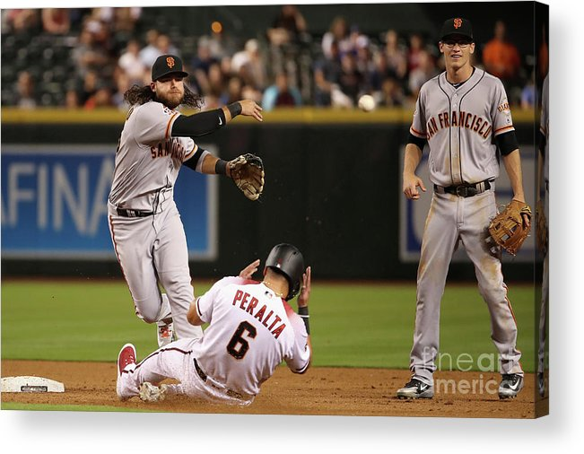 Double Play Acrylic Print featuring the photograph David Peralta and Brandon Crawford by Christian Petersen