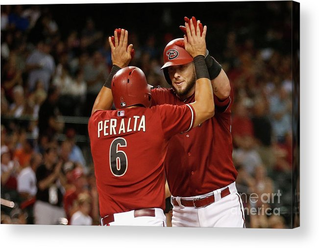 People Acrylic Print featuring the photograph David Peralta and Jarrod Saltalamacchia by Christian Petersen
