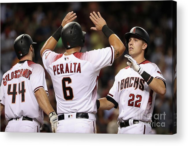 People Acrylic Print featuring the photograph David Peralta, Paul Goldschmidt, and Jake Lamb by Christian Petersen