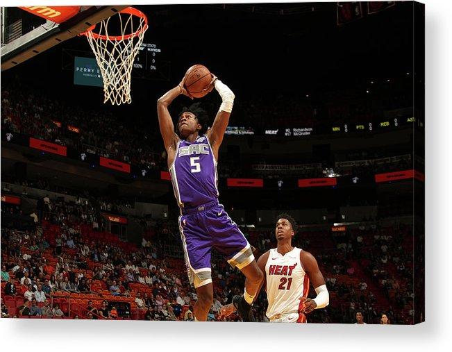 Nba Pro Basketball Acrylic Print featuring the photograph De'aaron Fox by Oscar Baldizon