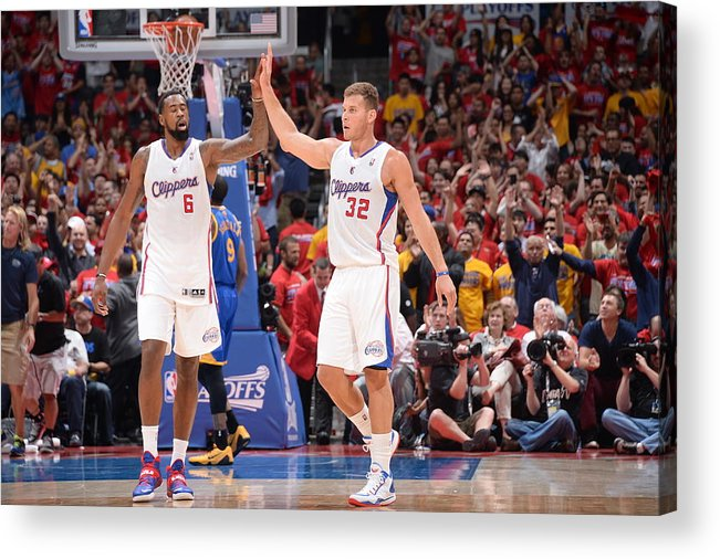 Playoffs Acrylic Print featuring the photograph Deandre Jordan and Blake Griffin by Andrew D. Bernstein