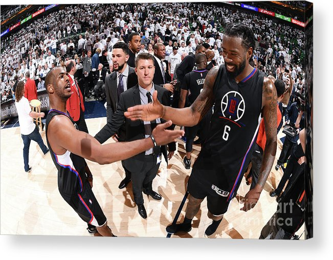 Playoffs Acrylic Print featuring the photograph Deandre Jordan and Chris Paul by Andrew D. Bernstein