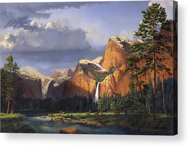 American Acrylic Print featuring the painting Deer Meadow Mountains Western stream Deer waterfall Landscape Oil Painting stormy sky snow scene by Walt Curlee