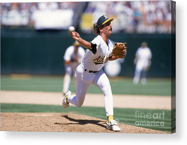 American League Baseball Acrylic Print featuring the photograph Dennis Eckersley by Jed Jacobsohn