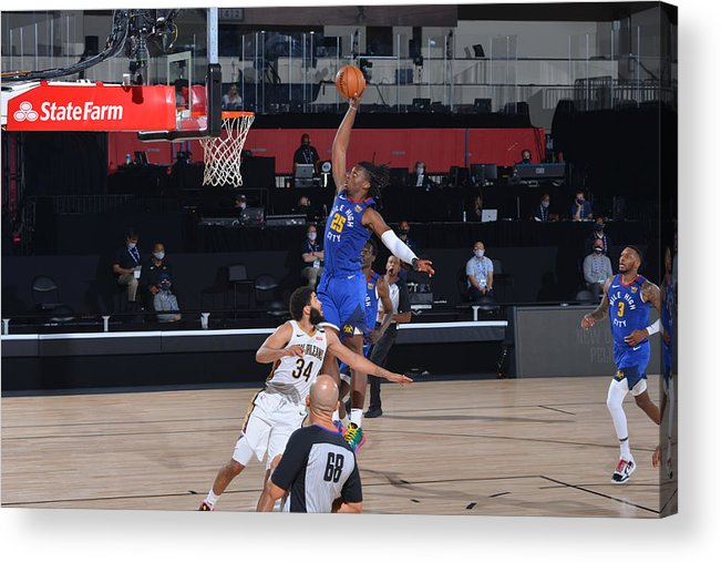 Nba Pro Basketball Acrylic Print featuring the photograph Denver Nuggets v New Orleans Pelicans by Garrett Ellwood