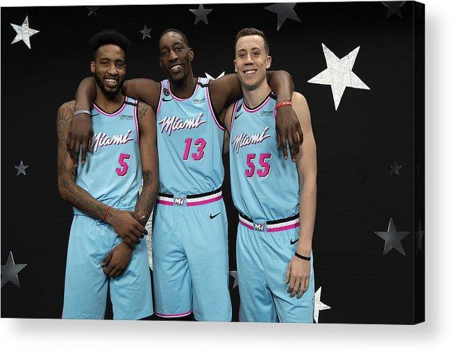 Nba Pro Basketball Acrylic Print featuring the photograph Derrick Jones and Bam Adebayo by Jesse D. Garrabrant