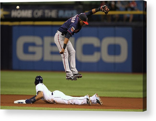 American League Baseball Acrylic Print featuring the photograph Desmond Jennings and Eduardo Escobar by Scott Iskowitz
