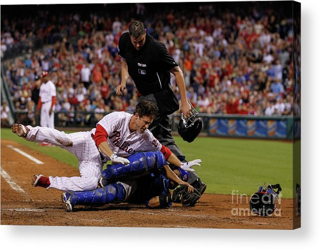Dioner Navarro Acrylic Print featuring the photograph Dioner Navarro and Chase Utley by Brian Garfinkel