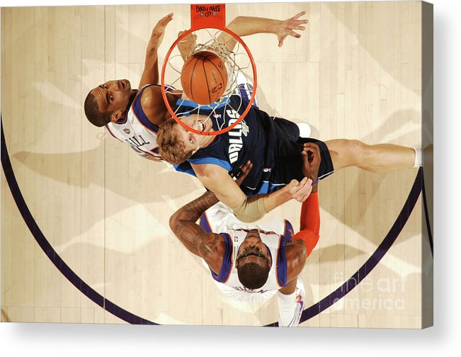 Nba Pro Basketball Acrylic Print featuring the photograph Dirk Nowitzki, Grant Hill, and Amar'e Stoudemire by Barry Gossage