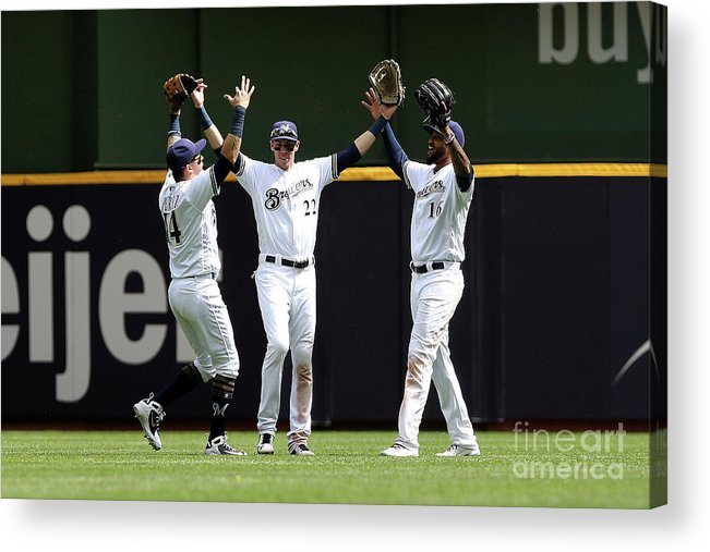 People Acrylic Print featuring the photograph Domingo Santana and Christian Yelich by Dylan Buell