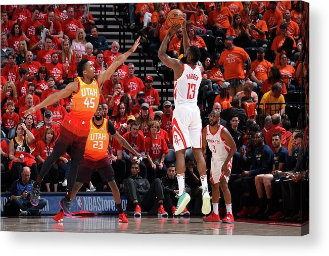 Playoffs Acrylic Print featuring the photograph Donovan Mitchell and James Harden by Andrew D. Bernstein