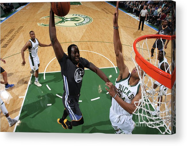 Nba Pro Basketball Acrylic Print featuring the photograph Draymond Green and Giannis Antetokounmpo by Gary Dineen