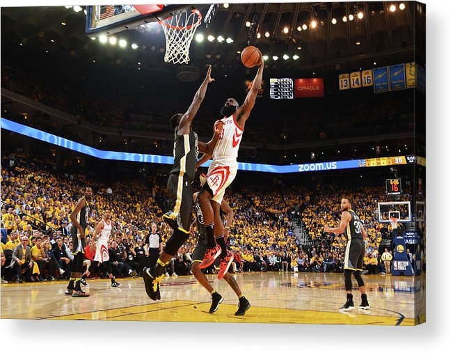 Playoffs Acrylic Print featuring the photograph Draymond Green and James Harden by Andrew D. Bernstein
