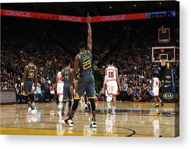 Nba Pro Basketball Acrylic Print featuring the photograph Draymond Green and Jonas Jerebko by Noah Graham