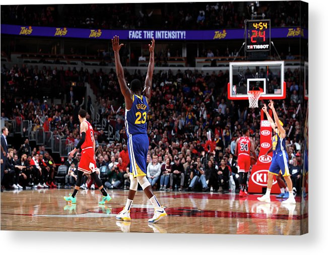 Nba Pro Basketball Acrylic Print featuring the photograph Draymond Green and Klay Thompson by Jeff Haynes