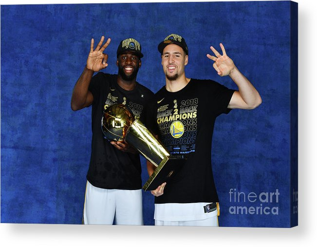 Playoffs Acrylic Print featuring the photograph Draymond Green and Klay Thompson by Jesse D. Garrabrant