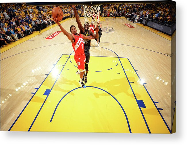Playoffs Acrylic Print featuring the photograph Draymond Green and Kyle Lowry by Jesse D. Garrabrant