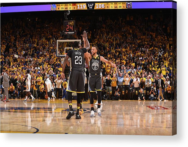 Playoffs Acrylic Print featuring the photograph Draymond Green and Stephen Curry by Noah Graham