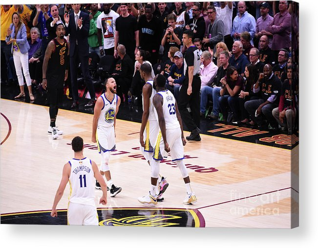 Playoffs Acrylic Print featuring the photograph Draymond Green, Stephen Curry, and Kevin Durant by Noah Graham