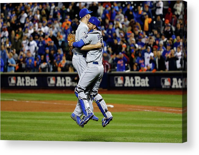 People Acrylic Print featuring the photograph Drew Butera and Wade Davis by Al Bello