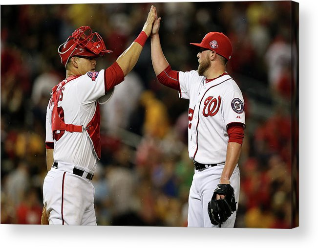 Drew Storen Acrylic Print featuring the photograph Drew Storen and Wilson Ramos by Patrick Smith