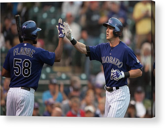 Three Quarter Length Acrylic Print featuring the photograph Drew Stubbs and Andrew Heaney by Dustin Bradford