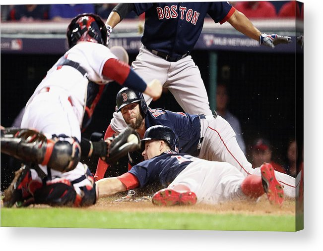 People Acrylic Print featuring the photograph Dustin Pedroia and Brock Holt by Maddie Meyer