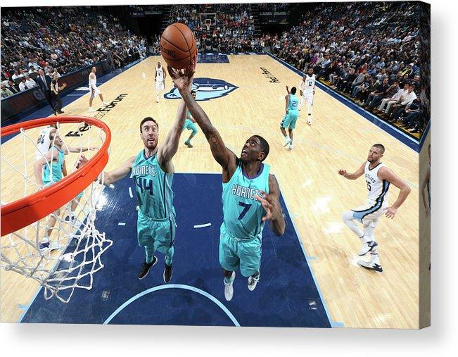 Nba Pro Basketball Acrylic Print featuring the photograph Dwayne Bacon and Frank Kaminsky by Joe Murphy