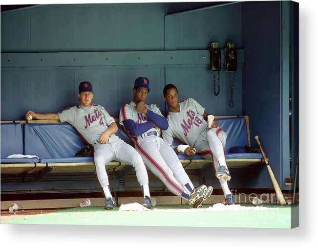 Dwight Gooden Acrylic Print featuring the photograph Dwight Gooden, Darryl Strawberry, and Lenny Dykstra by George Gojkovich