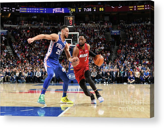 Nba Pro Basketball Acrylic Print featuring the photograph Dwyane Wade and Ben Simmons by Jesse D. Garrabrant
