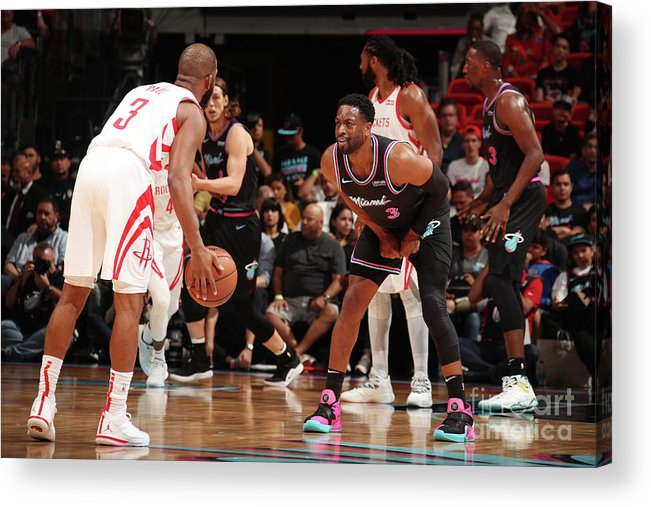 Nba Pro Basketball Acrylic Print featuring the photograph Dwyane Wade and Chris Paul by Issac Baldizon